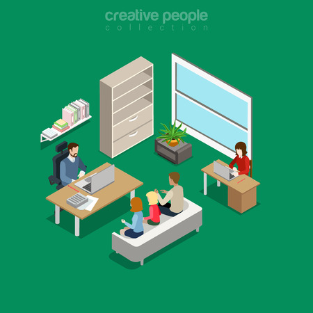 Flat isometric intra-office meeting session in boss office interior vector illustration. 3d isometry business concept. Illustration