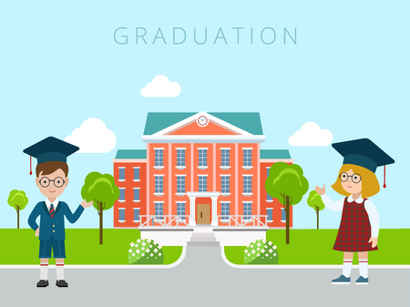 Flat happy graceful boy and girl students welcoming gesture to school building vector illustration. Education and knowledge, back to school concept.