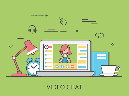 communicative: Linear Flat video chat conference website hero image vector illustration. Communication technology and software concept. Laptop with videochat interface active session on screen.