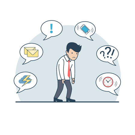 storm cloud: Linear Flat tired businessman shambles from fatigue; phone, storm cloud, mail, clock on chat babbles around vector illustration. Business deadline, multitasking concept.