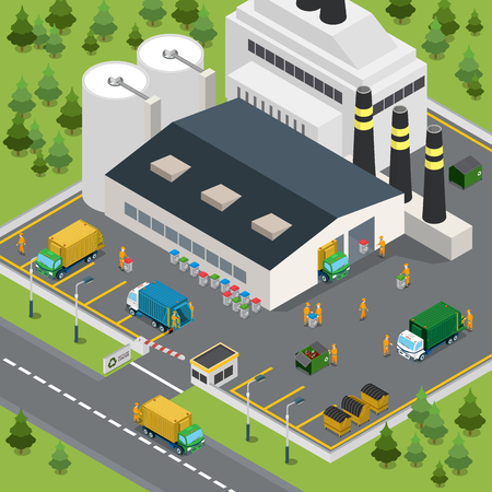 incineration: Flat isometric waste incineration plant exterior with transport on yard vector illustration. Building, truck, workers. 3d isometry recycling, nature care, alternative resource, incinerator concept.