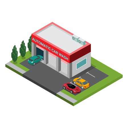 Flat isometric automatic car wash building exterior with parking vector illustration. 3d isometry modern city facilities and services architecture collection.