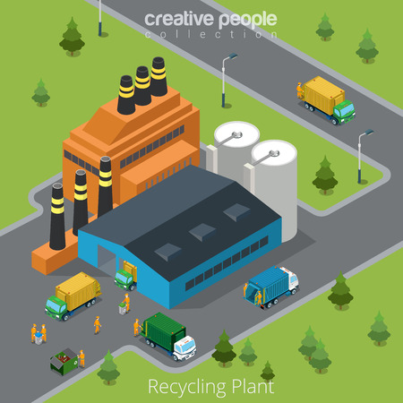 Flat isometric waste incineration plant exterior with transport on yard vector illustration. Building, truck, workers. 3d isometry recycling, nature care, alternative resource, incinerator concept.