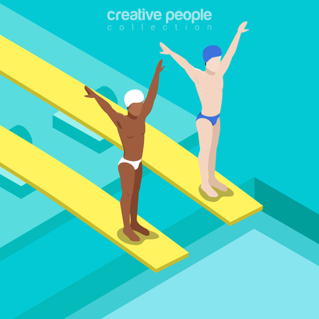 competitions: Flat isometric swimmers on trampoline springboards vector illustration. Swimming pool divers 3d isometry image. Summer international competition concept.