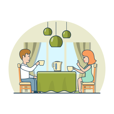 Linear Flat couple drinking tea or coffee at home kitchen table vector illustration. Casual life family breakfast concept. Illustration