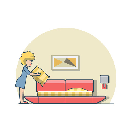 bedroom bed: Linear Flat woman holding pillow and making bed in bedroom vector illustration. Casual life concept. Illustration