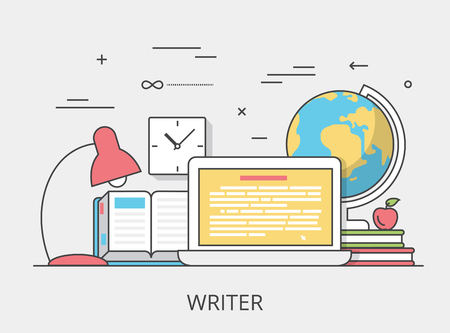 Linear Flat copywriting writer service website hero image vector illustration. Digital services tools and technology concept. Laptop, book, text editor software interface.