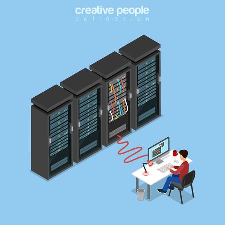 administrador de empresas: Piso administrador del sistema isométrico, servidor de administración, TI chico, programador o desarrollador de código de trabajo en el ordenador, conectado a la ilustración vectorial rack de servidores. 3d Tecnología isometría y el concepto de Telecom. Vectores