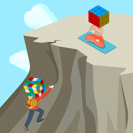 yogi: Flat isometric Casual man climbing up the mountain with twisted Rubiks Cube instead head to reach calm yogi vector illustration. 3d isometry life Chaos VS Order concept. Illustration