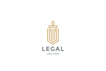 firms: Lawyer Attorney Advocate Logo design vector template Linear style.  Shield Sword Law Legal firm Security company logotype. Protect defense concept icon