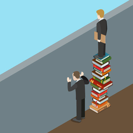 Flat isometric difference of problem solving approaches vector illustration. 3d isometry business education, innovation concept. Businessman standing on book heap, limited and unlimited by wall. Illustration