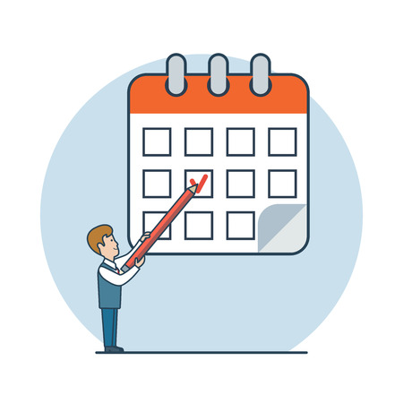 Linear Flat businessman draw checkmark on calendar vector illustration. Deadline, process schedule business concept.