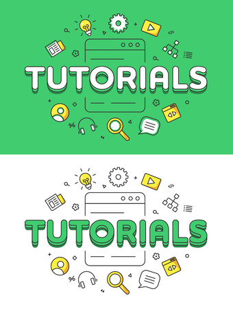 tutorials: Linear Flat Tutorials word over Screen and icons website hero image vector illustration set. Education and Training concept.