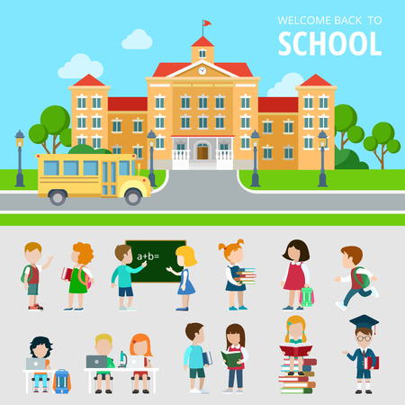 Flat set of bus, school, students, pupils, geek, nerd and wonk situations vector illustration. Education and knowledge, back to school concept. People icons collection.