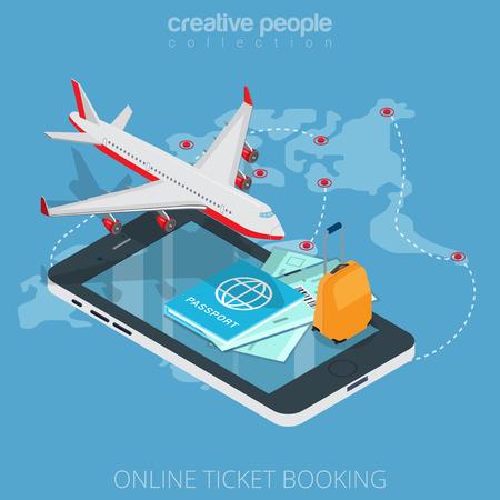 Flat isometrisch vliegtuig, instapkaart, bagage op smartphone vector illustratie. 3d isometry online mobile ticket boeken app concept. Vliegtuigen, paspoort, koffer, tickets en de vlucht kaart objecten.