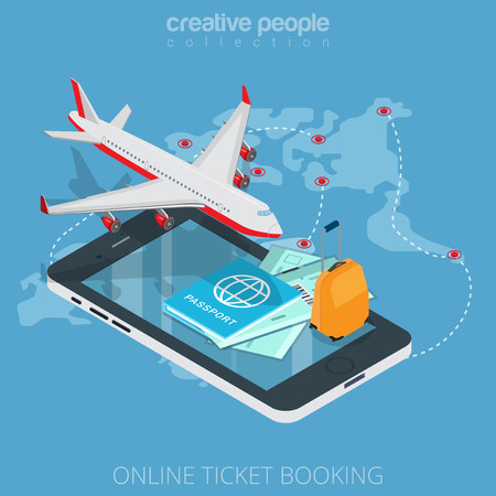 Flat isometric plane, boarding pass, luggage on smartphone vector illustration. 3d isometry online mobile ticket booking app concept. Aircraft, passport, suitcase, tickets and flight map objects.