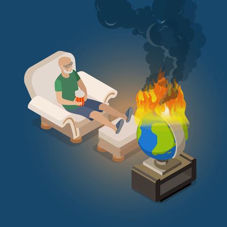 burning man: Flat isometric man sitting at home in armchair and watching for burning world globe vector illustration. Global destruction 3d isometry concept.