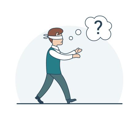 Lineal plana vergüenza del hombre de negocios extraviada con pañuelo atado ojos buscando manera correcta, la burbuja con la ilustración vectorial signo de interrogación chat. concepto de analfabetismo de negocios.