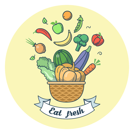 Linear Flat Basket with fruits and vegetables vector illustration. Eat Fresh food, healthy lifestyle concept. Watermelon, banana, pepper, apple, pumpkin, orange, onion, carrot.