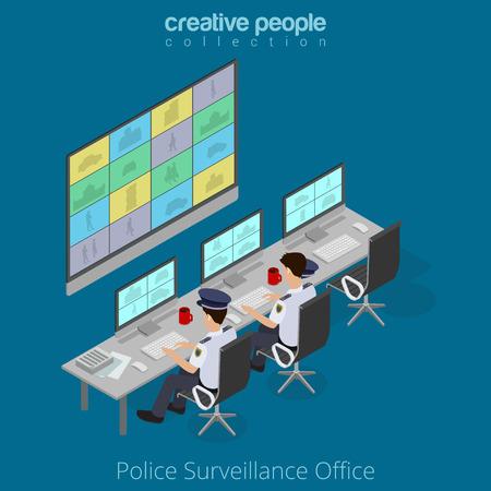 Flache isometrische Polizisten beobachten Monitor Vektor-Illustration. 3D Isometrie Online-Überwachung Konzept.