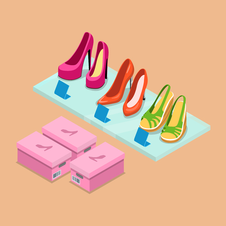 Flat isometric shoes boutique showcase shelf vector illustration. 3d isometry retail footwear store business concept. Female shoe pairs and package boxes.