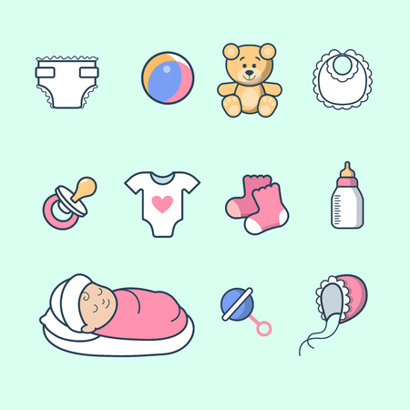 bodysuit: Linear Flat sleeping little Girl, ball, bear, socks, bottle, diaper, soother, beanbag isolated icons vector illustration. Scrapbook, hand made album or greeting card template. Newborn concept. Illustration