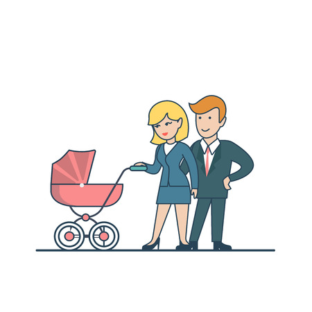 parenting: Linear Flat couple walking with pram vector illustration. Business and Parenting, family value concept.