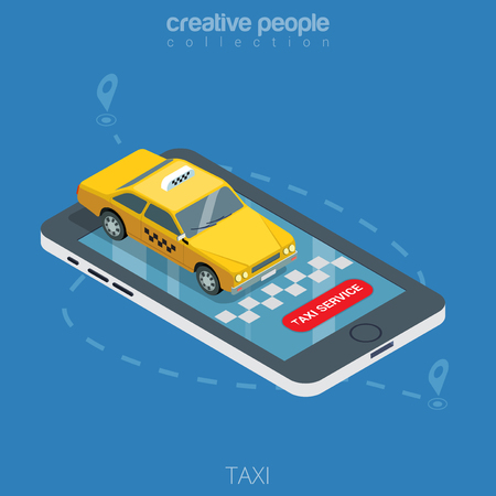 metaphoric: Flat isometric taxi yellow cab on smartphone vector illustration. 3d isometry online mobile taxi order service app concept. Car, GPS route point pins, checkerboard signs, Taxi service button.