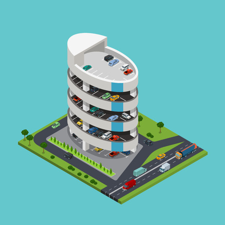 facilities: Flat isometric 5 level Parking building with roads around vector illustration. 3d isometry modern city facilities and services architecture collection.