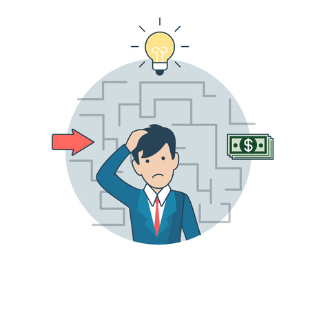 investor: Linear Flat Investor thinking about deposit, lamp and money banknotes around vector illustration. Business Investments concept. Illustration