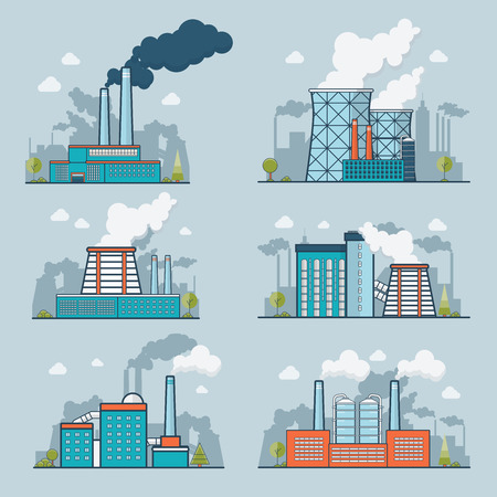 polluted cities: Linear Flat modern heavy industry nature pollution plant vector illustration set. Ecology and nature polluted concept. Illustration