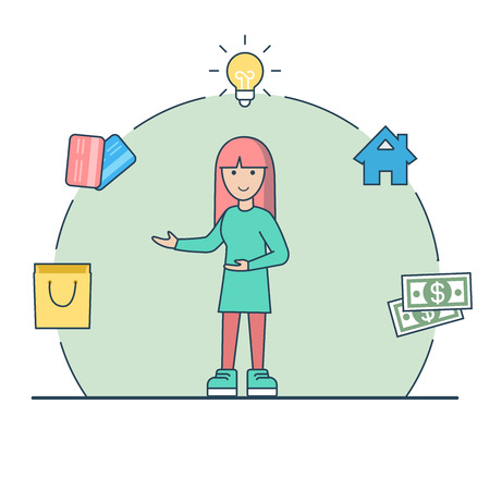 Linear Flat happy woman standing; lamp, house, money, credit cards package in circle around vector illustration. Casual finance expenses distribution concept. Illustration