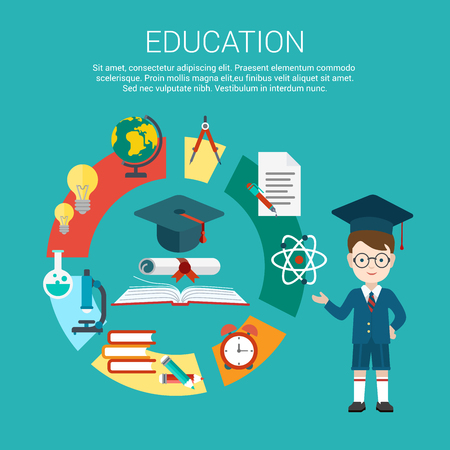 dork: Flat student point to education process cycle and graduation certificate achievement vector illustration. Educational and knowledge infographics concept.