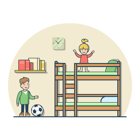 bunk bed: Linear Flat boy and girl playing in kids room vector illustration. Casual life concept. Teenager boy with soccer ball and girl jumping on top of bunk deck bed.