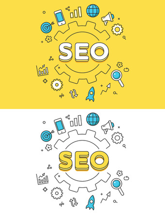 Linear Flat SEO word over gearwheel and icons website hero image vector illustration set. Search Engine Optimization and web site promotion concept.