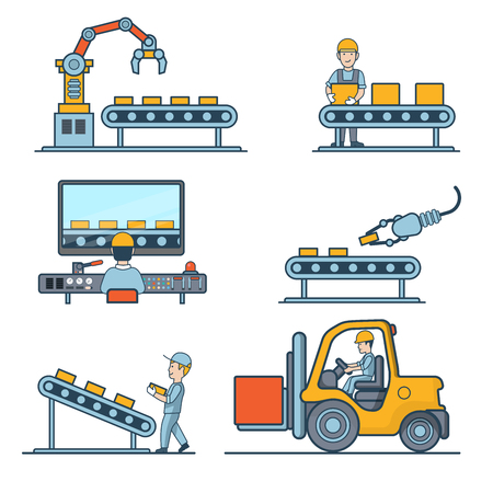 transporting: Linear Flat industrial manufacture conveyor and warehouse storage machines vector illustration set. Business production process concept. Packaging, transporting, managing in control center.