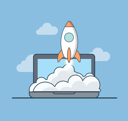 Linear Flat rocket flying up in sky from laptop web infographics vector illustration. Business startup concept. Illustration