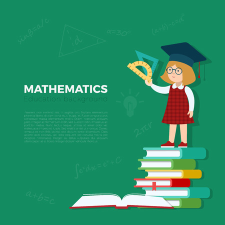 book concept: Math lesson background vector illustration. Pupil girl standing on book heap with rulers. Primary school mathematics education concept.