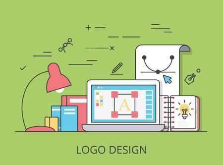 software design: Linear Flat  design, identity and branding website hero image vector illustration. Digital art tools and technology concept. Laptop, sketchbook, vector editor software interface. Illustration