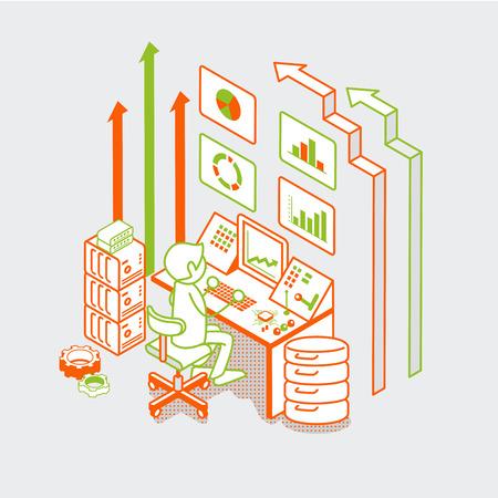 fila de personas: hombre plana lineal isométrica de trabajo con ordenador servidor, mando a distancia y el botón de flechas ilustración vectorial. tecnología de negocio de la venta concepto 3d isometría.