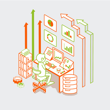 Isometric linear flat man working with server computer, button remote controller and arrows vector illustration. Marketing business technology 3d isometry concept. Illustration