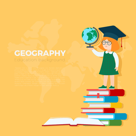 geography background: Geography background vector illustration. Pupil girl standing on book heap with globe. Primary school education concept. Illustration