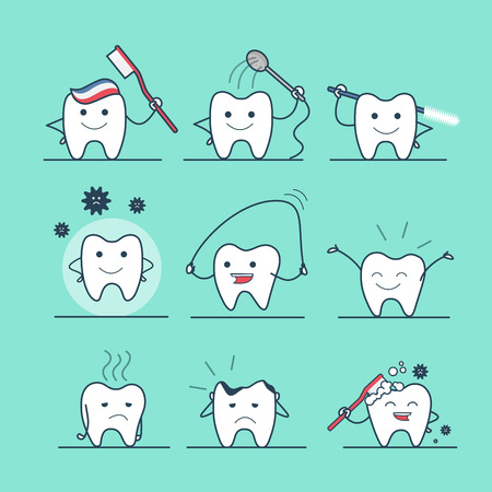 rinsing: Linear Flat cute tooth flossing, brushing, washing, rinsing, caries protection vector illustration set. Dental health care concept. Illustration