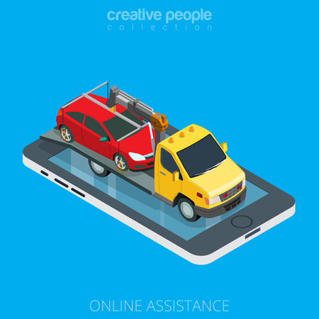 Flat isometric tow truck evacuator car on smartphone vector illustration. 3d isometry online mobile emergency automobile repair service assistance app concept. Illustration