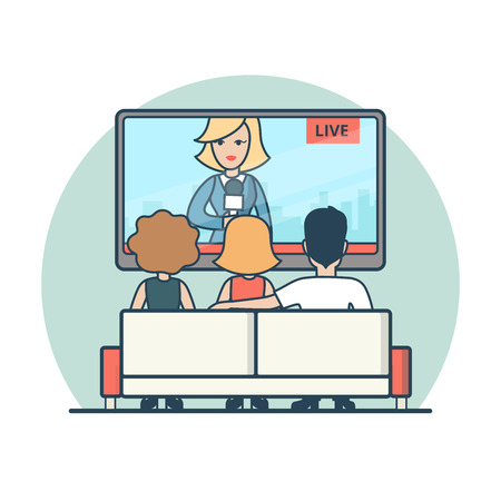 watching: Linear Flat people watching news on TV vector illustration. Live news airing media concept.