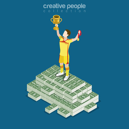 wealth concept: Flat isometric soccer (football) player on top of money heap with trophy and medal vector illustration. Sports 3d isometry image. Profit, wage, price, wealth and value of professionals concept.