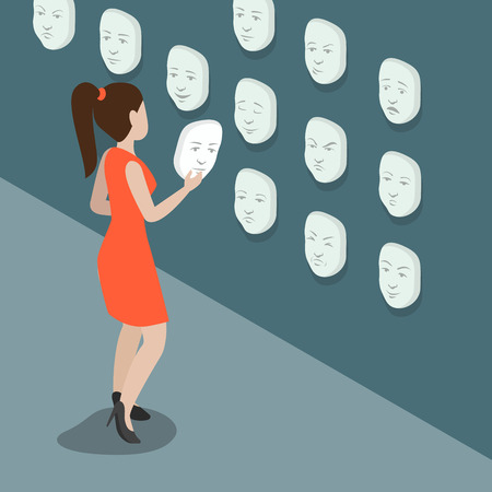Flat isometric Young Woman searching right emotional face mask hanging on the wall vector illustration. 3d isometry changeable mood, feelings and emotions concept.