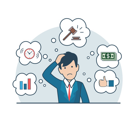 lending: Linear Flat Businessman thinking about auction or credit, gavel, money banknotes, diagram, clock around vector illustration. Business successful lending concept.