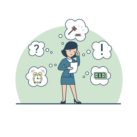 Linear Flat Businesswoman thinking about auction or credit; gavel, money banknotes, alarm clock, exclamation and question mark around vector illustration. Business lending limits concept. Stock Illustratie
