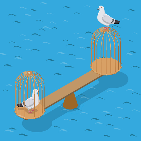 captivity: Flat isometric two doves balancing on scales, captive and free of birdcage vector illustration. 3d isometry Captivity and Freedom concept. Illustration